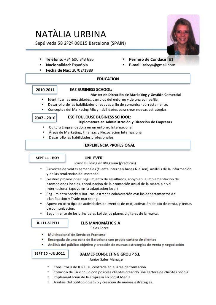 cv espagnol exemple
