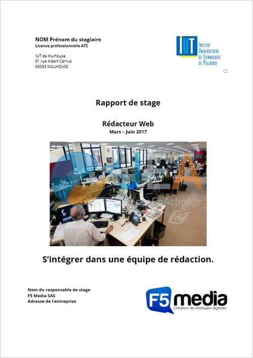 page garde rapport stage